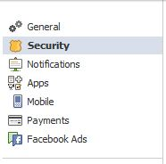 facebook security settings menu
