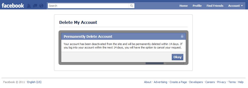 delete facebook account confirmed