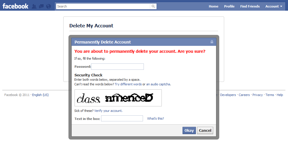delete facebook account confirmation
