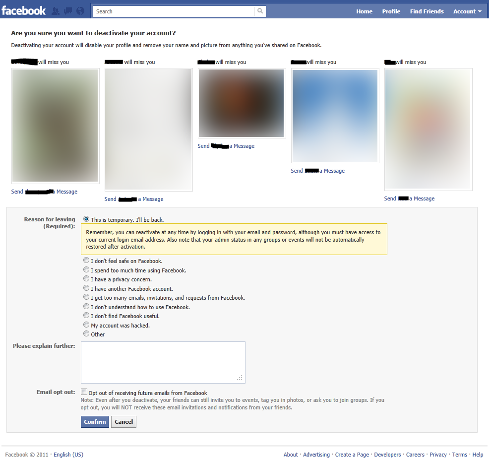 facebook ask for confirm deactivate account