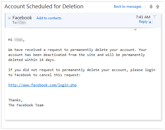facebook account scheduled for deletion