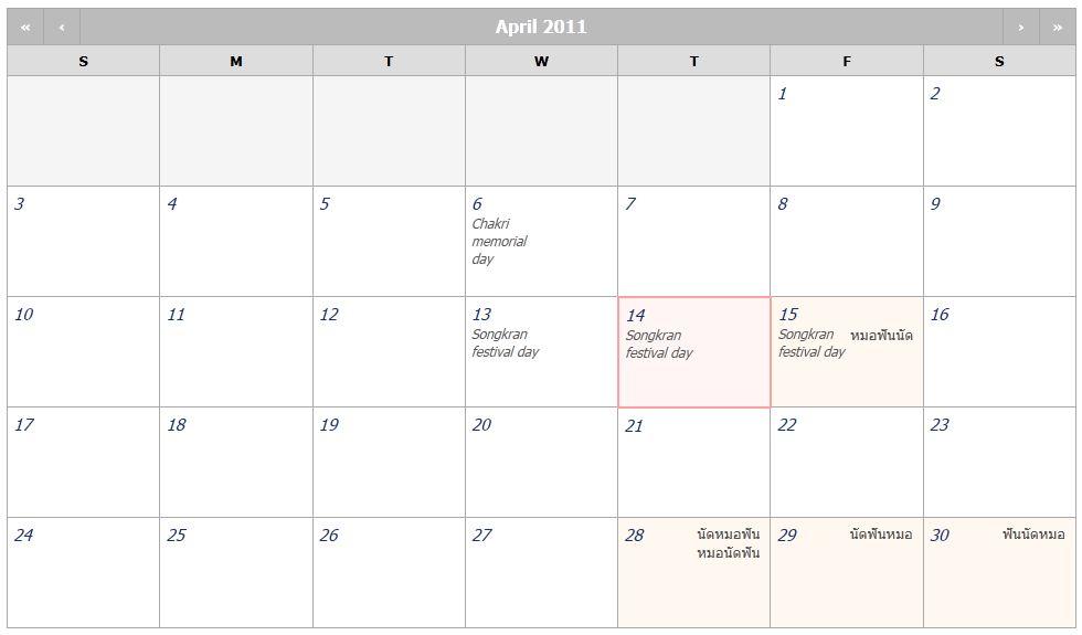 thai calendar
