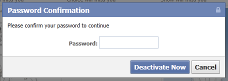 facebook deactivation confirmation