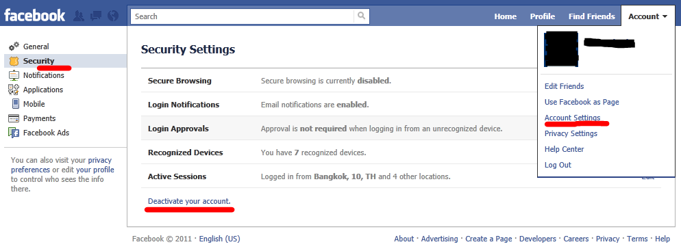 facebook settings > deactivate account