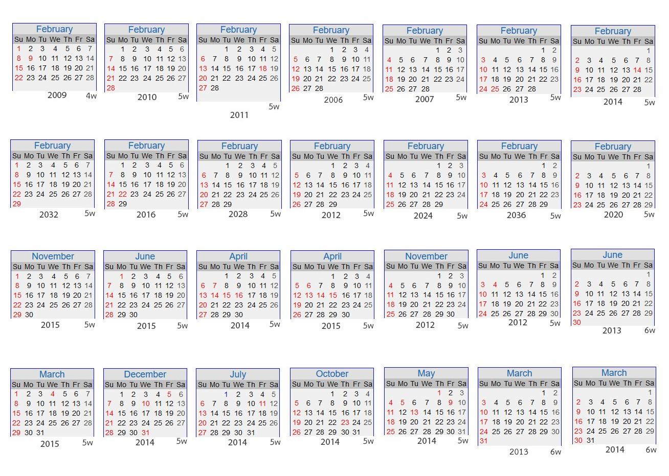 number of weeks in calendar