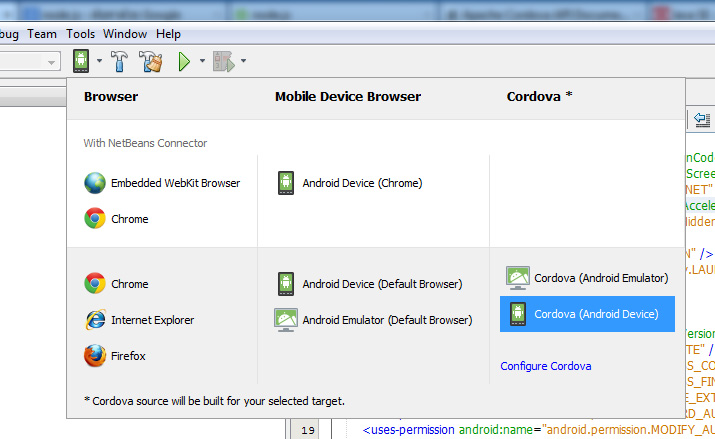 netbeans select cordova android device